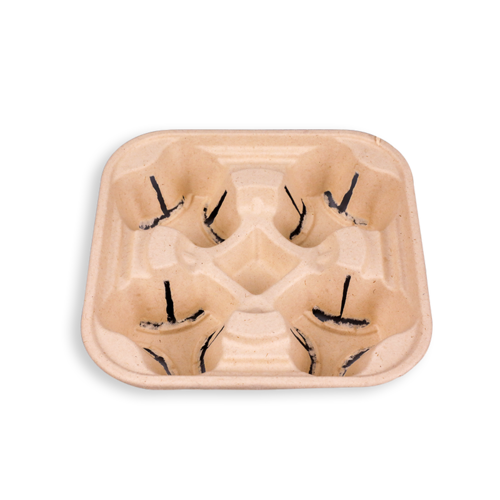 Biodegradable Sugarcane Bagasse 4 Cup Carriers