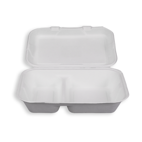 9*6'' Biodegradable Sugarcane Bagasse 2 Compartment Clamshells
