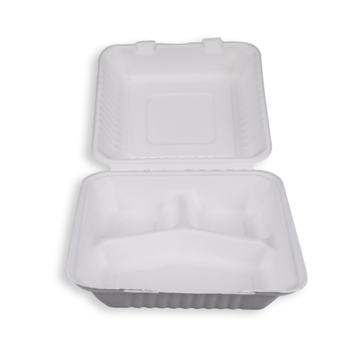 9'' Biodegradable Sugarcane Bagasse 3 Compartment Clamshells