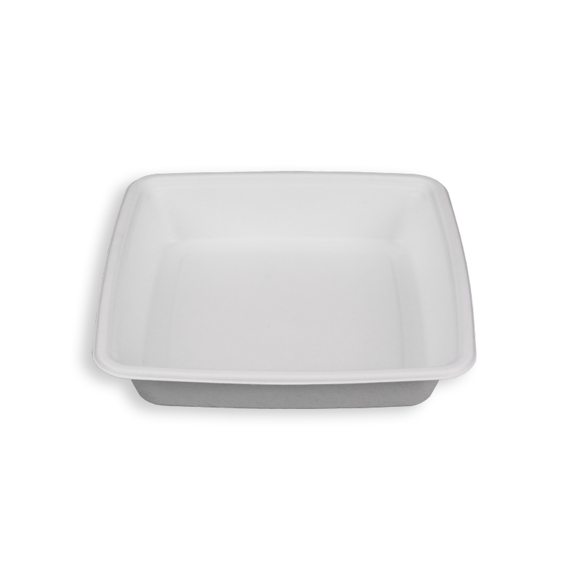 9'' Biodegradable Sugarcane Bagasse Square Trays