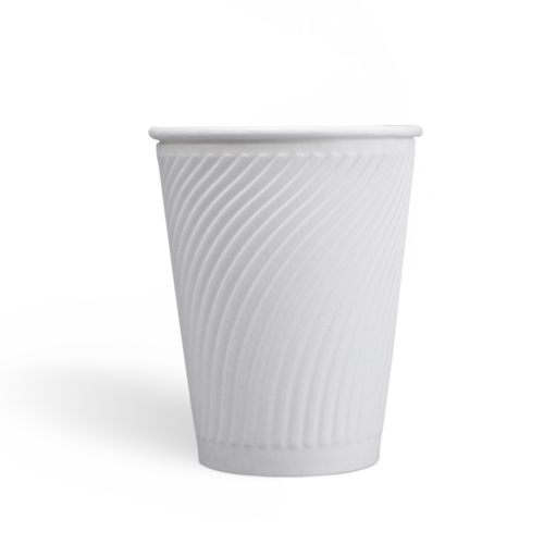 12oz Compostable PLA coating Embossed Paper Cups